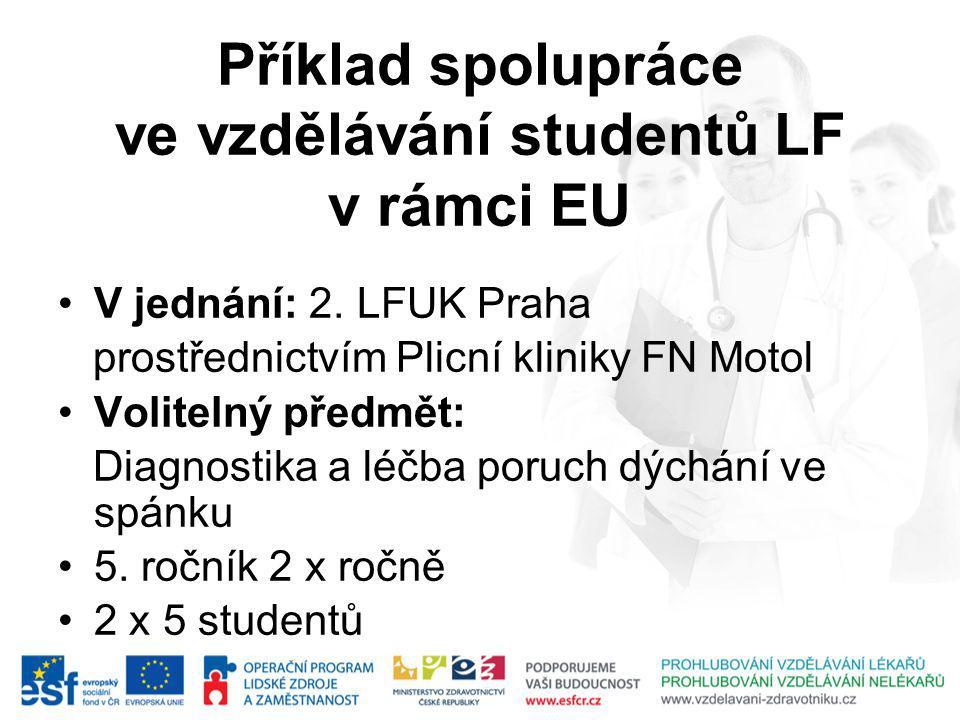 Příklad spolupráce ve vzdělávání studentů LF v rámci EU V jednání: 2.