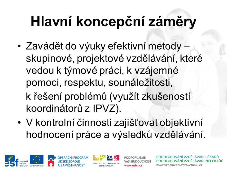 Hlavní koncepční záměry Zavádět do výuky efektivní metody – skupinové, projektové vzdělávání, které vedou k týmové práci, k vzájemné pomoci, respektu, sounáležitosti, k řešení problémů (využít zkušeností koordinátorů z IPVZ).