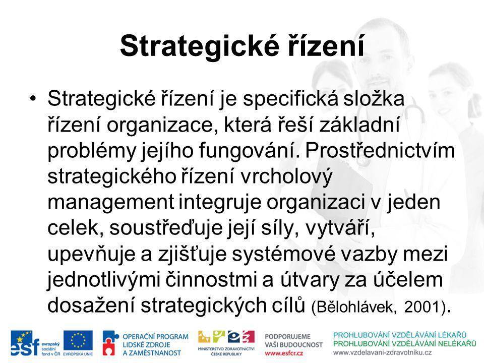 Strategické řízení Strategické řízení je specifická složka řízení organizace, která řeší základní problémy jejího fungování.