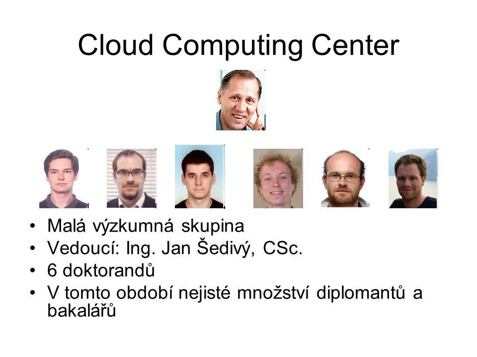 Cloud Computing Center Cíl: aplikovaný výzkum, spolupráce s průmyslem, výuka Firmy: Cloud Computing, Machine learning, Big Data Univerzita: algoritmy deskriptivní a prediktivní analýzy Příklady projektů: –Kontextuální reklama založená na topic modelu –Rozpoznávání jmen a označení firem ve větě –Modelování chování hráčů on-line her –Generování synonym pro vyhledávání –Klasifikace spamu a vyžádaných newsletterů –Předpověď vytížení cloudu pomocí časových řad –Deployment aplikací do cloudu řízený performance modelem –Škálování Hadoopu v cloudu