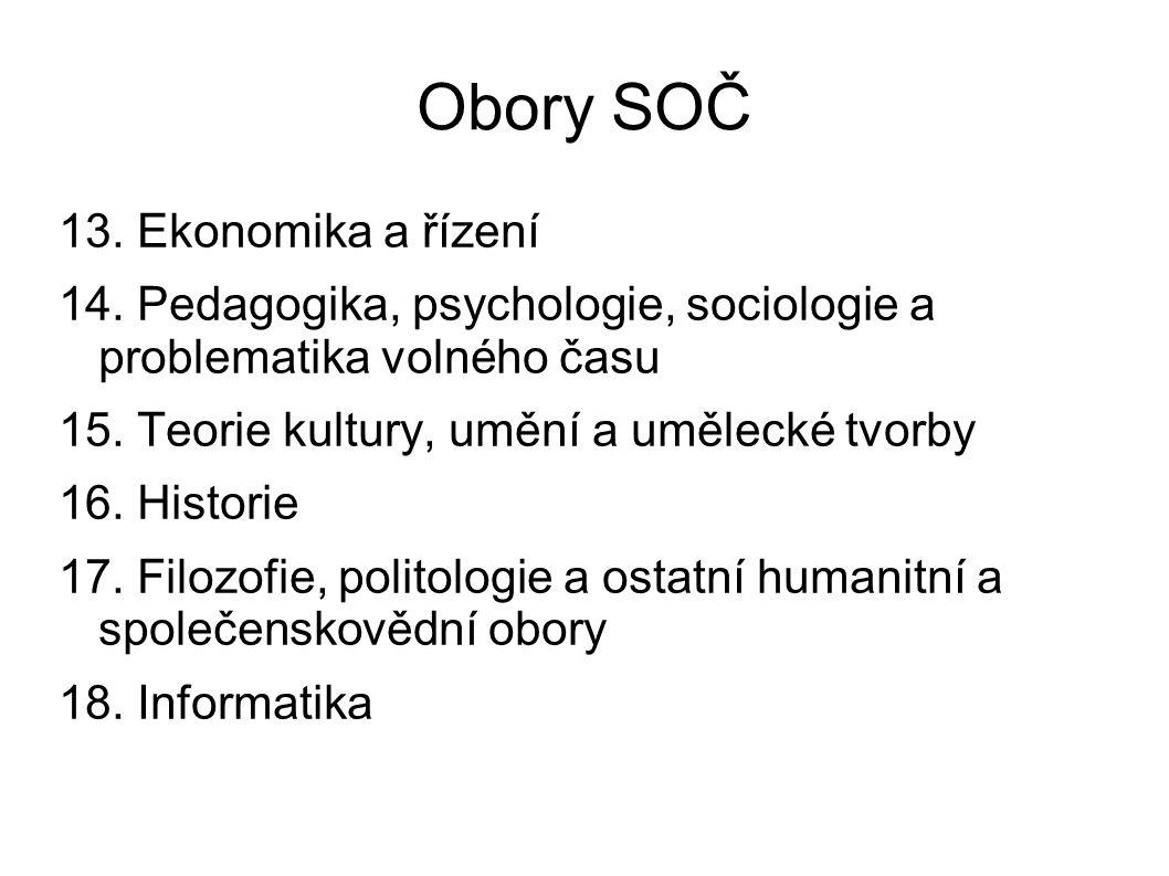 Obory SOČ 13. Ekonomika a řízení 14.