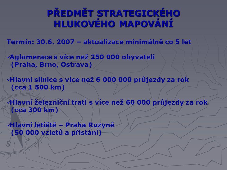 PŘEDMĚT STRATEGICKÉHO HLUKOVÉHO MAPOVÁNÍ Termín: 30.6. 2007 – aktualizace minimálně co 5 let Aglomerace s více než 250 000 obyvateli (Praha, Brno, Ost
