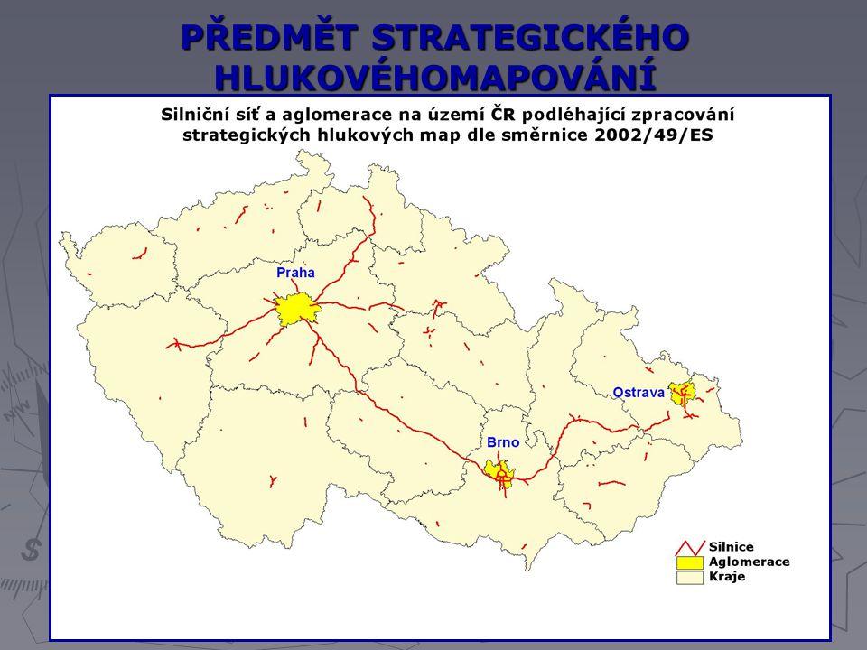PŘEDMĚT STRATEGICKÉHO HLUKOVÉHO MAPOVÁNÍ ŽELEZNIC Praha – Kol í n 62 km Kol í n – Pardubice 42 km Pardubice – Česk á Třebov á 60 km Olomouc – Přerov 22 km Přerov – Ostrava 84 km Velký Osek – Nymburk 15 km Nymburk – Lys á nad Labem 15 km Celkem 300 km