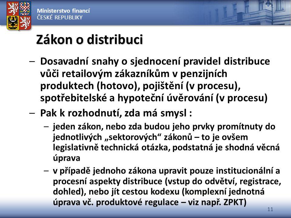 Ministerstvo financí ČESKÉ REPUBLIKY 11 Zákon o distribuci –Dosavadní snahy o sjednocení pravidel distribuce vůči retailovým zákazníkům v penzijních p