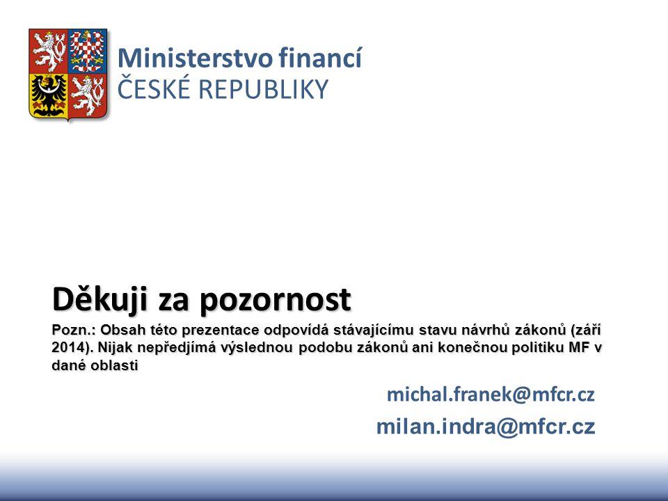 Ministerstvo financí ČESKÉ REPUBLIKY Děkuji za pozornost Pozn.: Obsah této prezentace odpovídá stávajícímu stavu návrhů zákonů (září 2014). Nijak nepř
