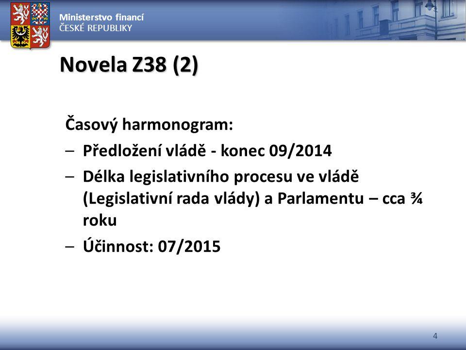 Ministerstvo financí ČESKÉ REPUBLIKY 4 Novela Z38 (2) Časový harmonogram: –Předložení vládě - konec 09/2014 –Délka legislativního procesu ve vládě (Le
