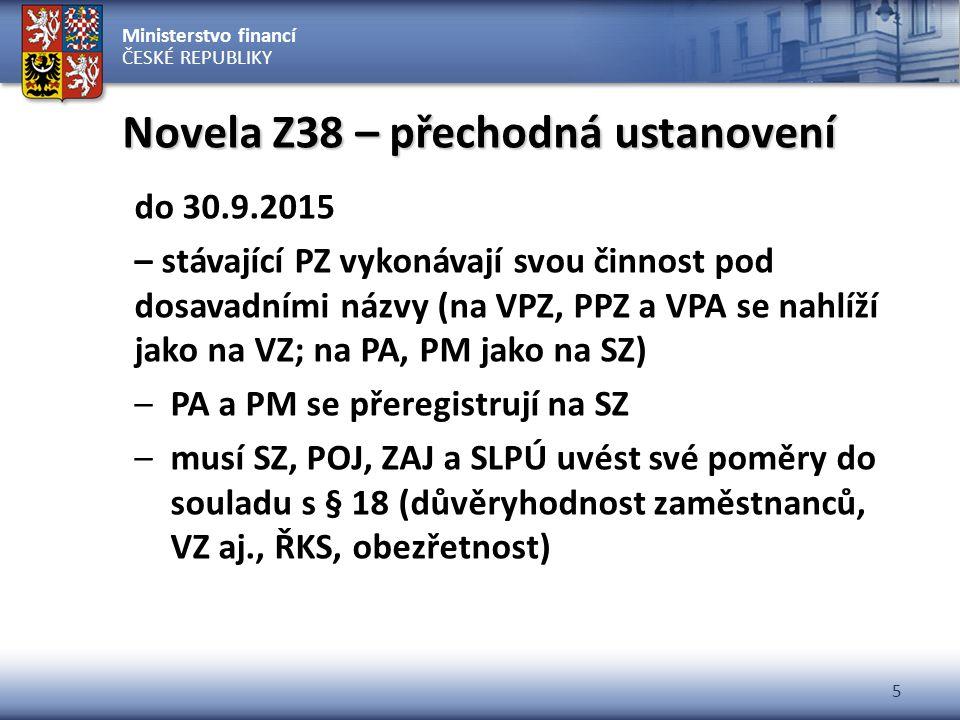 Ministerstvo financí ČESKÉ REPUBLIKY 5 Novela Z38 – přechodná ustanovení do 30.9.2015 – stávající PZ vykonávají svou činnost pod dosavadními názvy (na