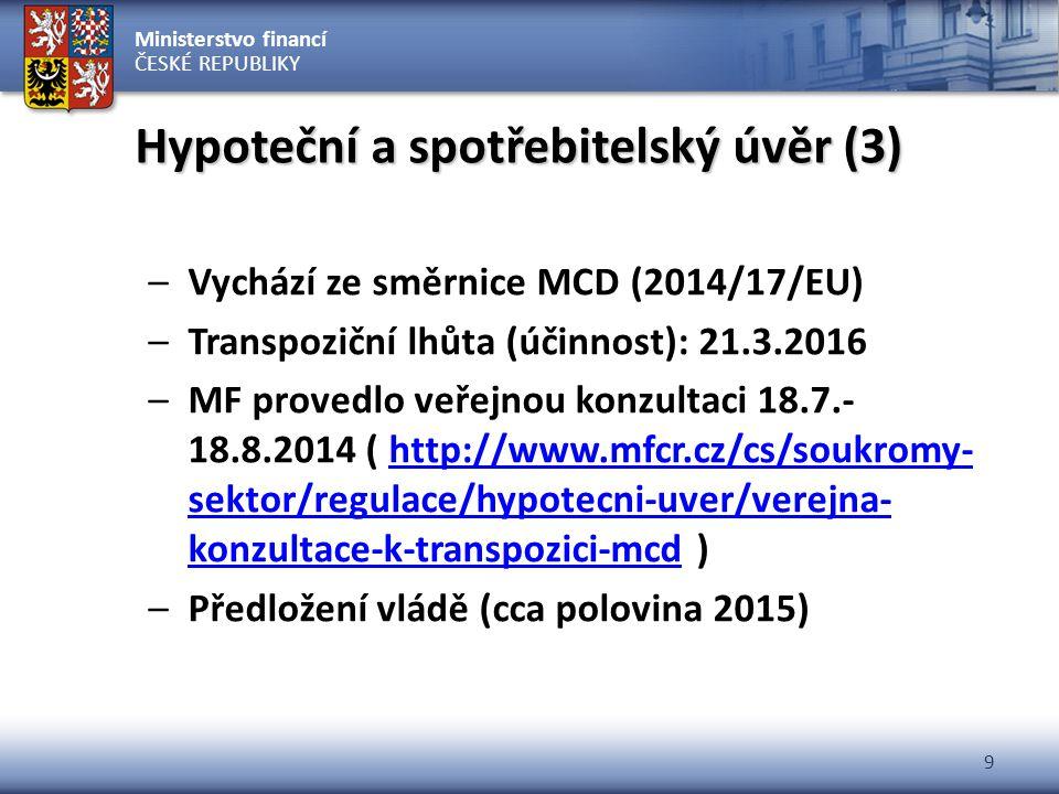Ministerstvo financí ČESKÉ REPUBLIKY 9 Hypoteční a spotřebitelský úvěr (3) –Vychází ze směrnice MCD (2014/17/EU) –Transpoziční lhůta (účinnost): 21.3.