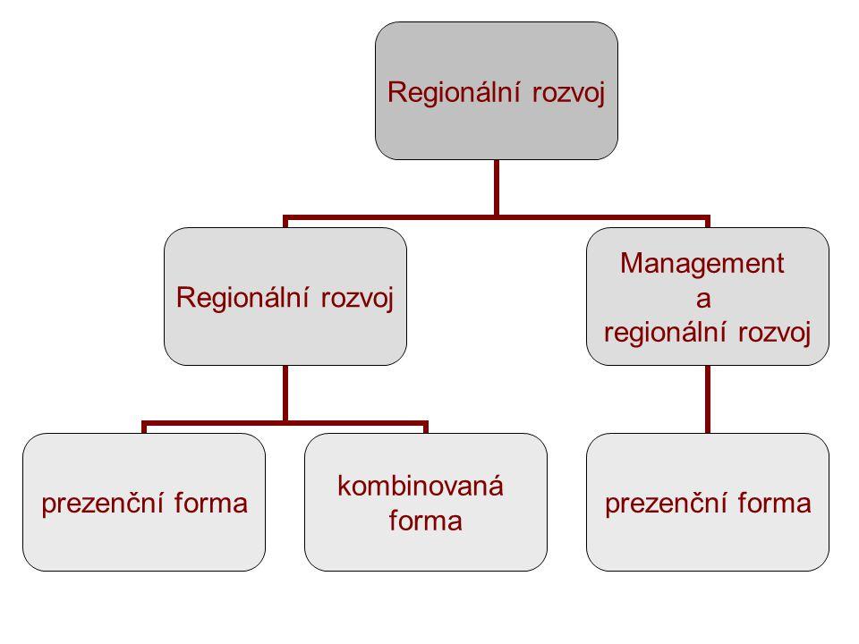 Regionální rozvoj prezenční forma kombinovaná forma Management a regionální rozvoj prezenční forma