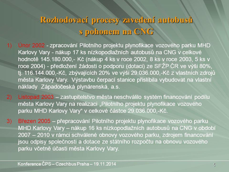 5 1)Únor 2002 - zpracování Pilotního projektu plynofikace vozového parku MHD Karlovy Vary - nákup 17 ks nízkopodlažních autobusů na CNG v celkové hodnotě 145.180.000,- Kč (nákup 4 ks v roce 2002, 8 ks v roce 2003, 5 ks v roce 2004) - předložení žádosti o podporu (dotaci) ze SFŽP ČR ve výši 80%, tj.