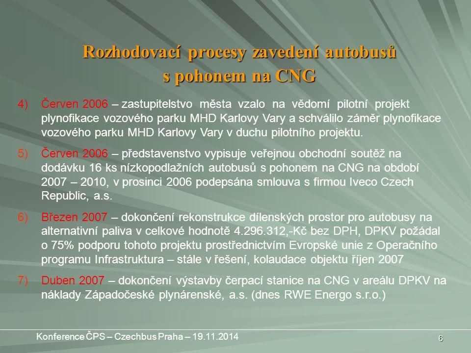 6 4)Červen 2006 – zastupitelstvo města vzalo na vědomí pilotní projekt plynofikace vozového parku MHD Karlovy Vary a schválilo záměr plynofikace vozového parku MHD Karlovy Vary v duchu pilotního projektu.