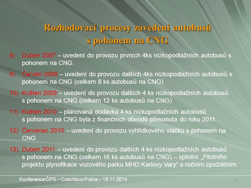 7 Rozhodovací procesy zavedení autobusů s pohonem na CNG 8)Duben 2007 – uvedení do provozu prvních 4ks nízkopodlažních autobusů s pohonem na CNG.