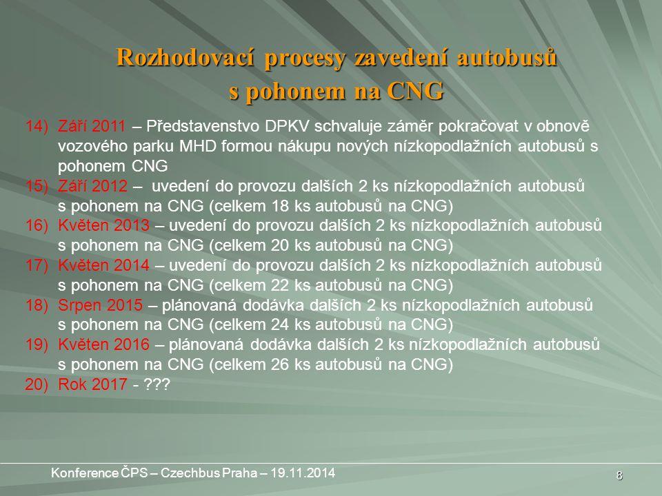 8 14)Září 2011 – Představenstvo DPKV schvaluje záměr pokračovat v obnově vozového parku MHD formou nákupu nových nízkopodlažních autobusů s pohonem CNG 15)Září 2012 – uvedení do provozu dalších 2 ks nízkopodlažních autobusů s pohonem na CNG (celkem 18 ks autobusů na CNG) 16)Květen 2013 – uvedení do provozu dalších 2 ks nízkopodlažních autobusů s pohonem na CNG (celkem 20 ks autobusů na CNG) 17)Květen 2014 – uvedení do provozu dalších 2 ks nízkopodlažních autobusů s pohonem na CNG (celkem 22 ks autobusů na CNG) 18)Srpen 2015 – plánovaná dodávka dalších 2 ks nízkopodlažních autobusů s pohonem na CNG (celkem 24 ks autobusů na CNG) 19)Květen 2016 – plánovaná dodávka dalších 2 ks nízkopodlažních autobusů s pohonem na CNG (celkem 26 ks autobusů na CNG) 20)Rok 2017 - ??.