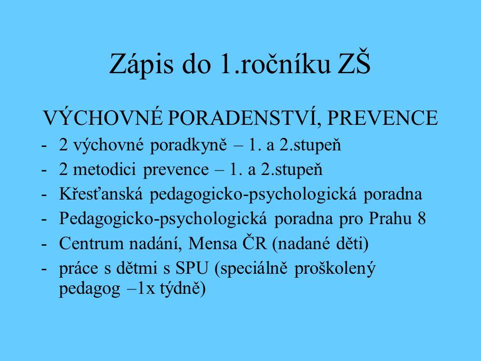 Zápis do 1.ročníku ZŠ VÝCHOVNÉ PORADENSTVÍ, PREVENCE -2 výchovné poradkyně – 1.