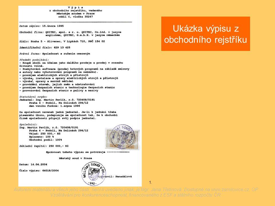 Ukázka výpisu z obchodního rejstříku 1. Autorem materiálu a všech jeho částí, není-li uvedeno jinak, je Mgr. Jana Třetinová. Dostupné na www.zsmilovic