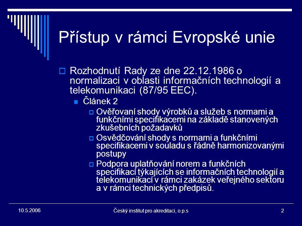Český institut pro akreditaci, o.p.s2 10.5.2006 Přístup v rámci Evropské unie  Rozhodnutí Rady ze dne 22.12.1986 o normalizaci v oblasti informačních