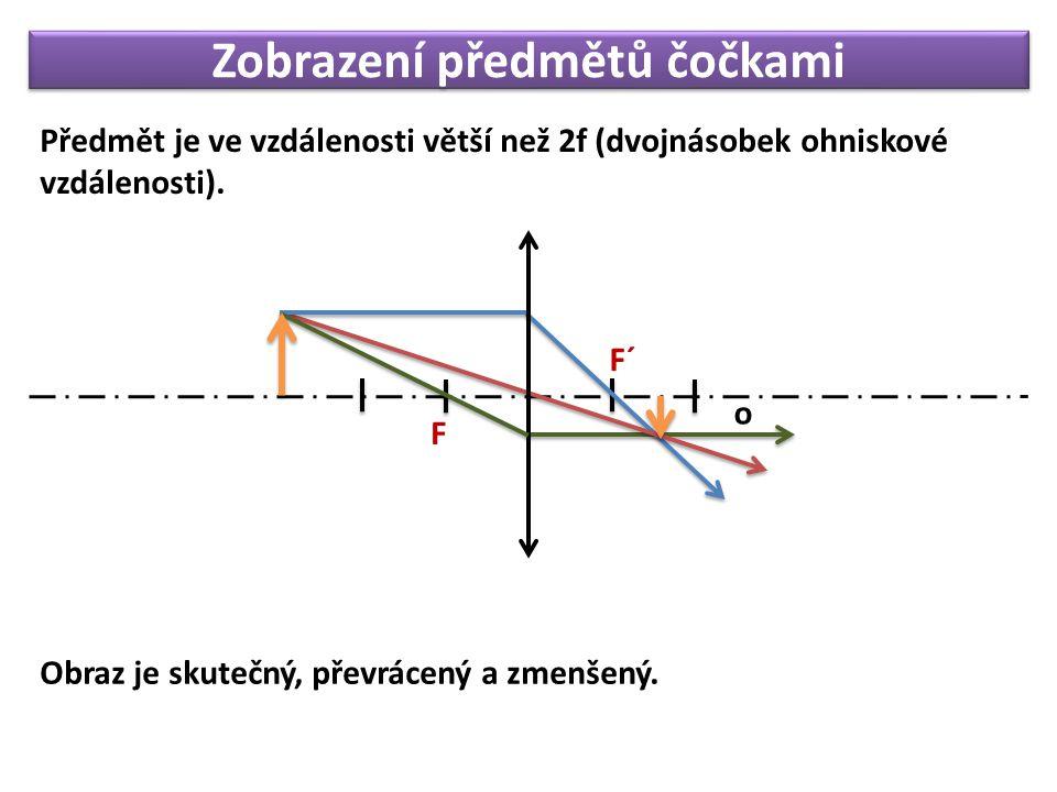 Zobrazení předmětů čočkami Předmět je ve vzdálenosti větší než 2f (dvojnásobek ohniskové vzdálenosti). F o F´ Obraz je skutečný, převrácený a zmenšený