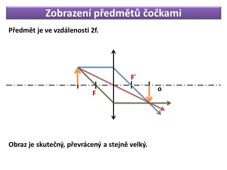 Zobrazení předmětů čočkami Předmět je ve vzdálenosti 2f. F o F´ Obraz je skutečný, převrácený a stejně velký.