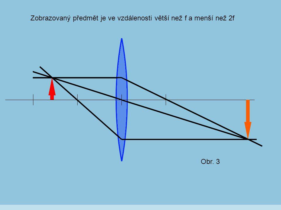 Obr. 3 Zobrazovaný předmět je ve vzdálenosti větší než f a menší než 2f