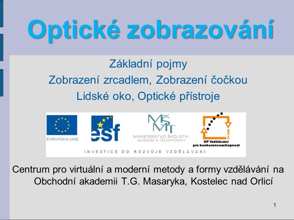 Optické zobrazování Základní pojmy Zobrazení zrcadlem, Zobrazení čočkou Lidské oko, Optické přístroje Centrum pro virtuální a moderní metody a formy v