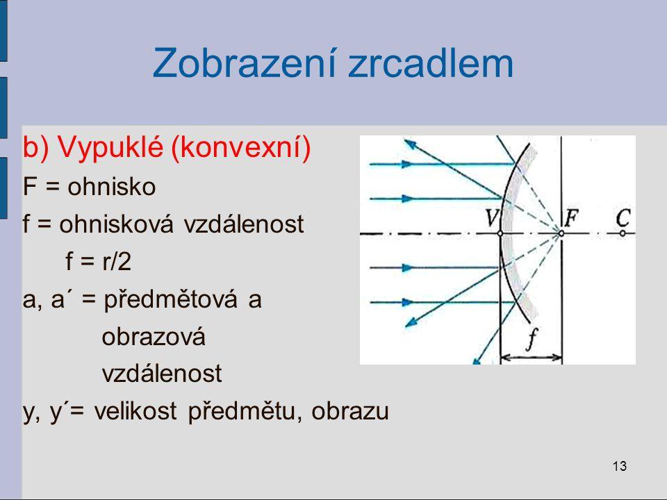 Zobrazení zrcadlem b) Vypuklé (konvexní) F = ohnisko f = ohnisková vzdálenost f = r/2 a, a´ = předmětová a obrazová vzdálenost y, y´= velikost předmět