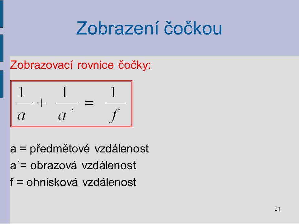Zobrazení čočkou Zobrazovací rovnice čočky: a = předmětové vzdálenost a´= obrazová vzdálenost f = ohnisková vzdálenost 21