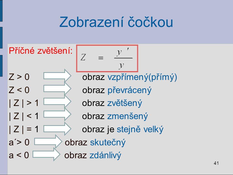 Zobrazení čočkou Příčné zvětšení: Z > 0 obraz vzpřímený(přímý) Z < 0 obraz převrácený | Z | > 1 obraz zvětšený | Z | < 1 obraz zmenšený | Z | = 1 obra