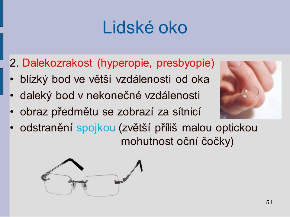 Lidské oko 2. Dalekozrakost (hyperopie, presbyopie) blízký bod ve větší vzdálenosti od oka daleký bod v nekonečné vzdálenosti obraz předmětu se zobraz