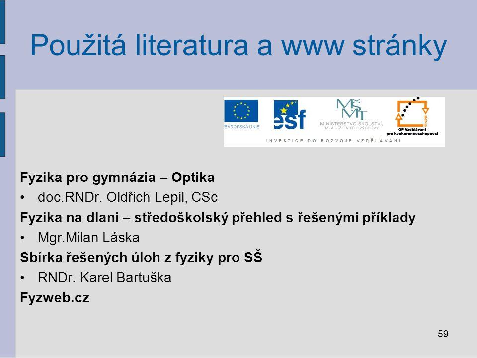 59 Použitá literatura a www stránky Fyzika pro gymnázia – Optika doc.RNDr. Oldřich Lepil, CSc Fyzika na dlani – středoškolský přehled s řešenými příkl