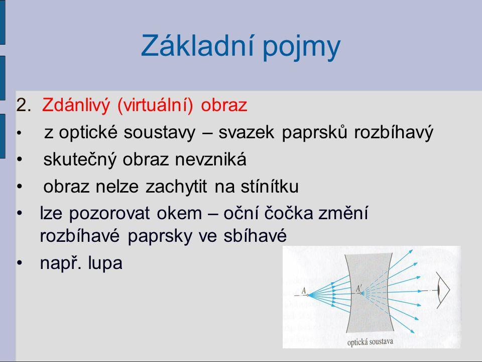 Základní pojmy Prostor: předmětový = prostor před optickou soustavou, ve kterém se nachází předmět obrazový = prostor za optickou soustavou, v němž může ležet obraz předmětu 7