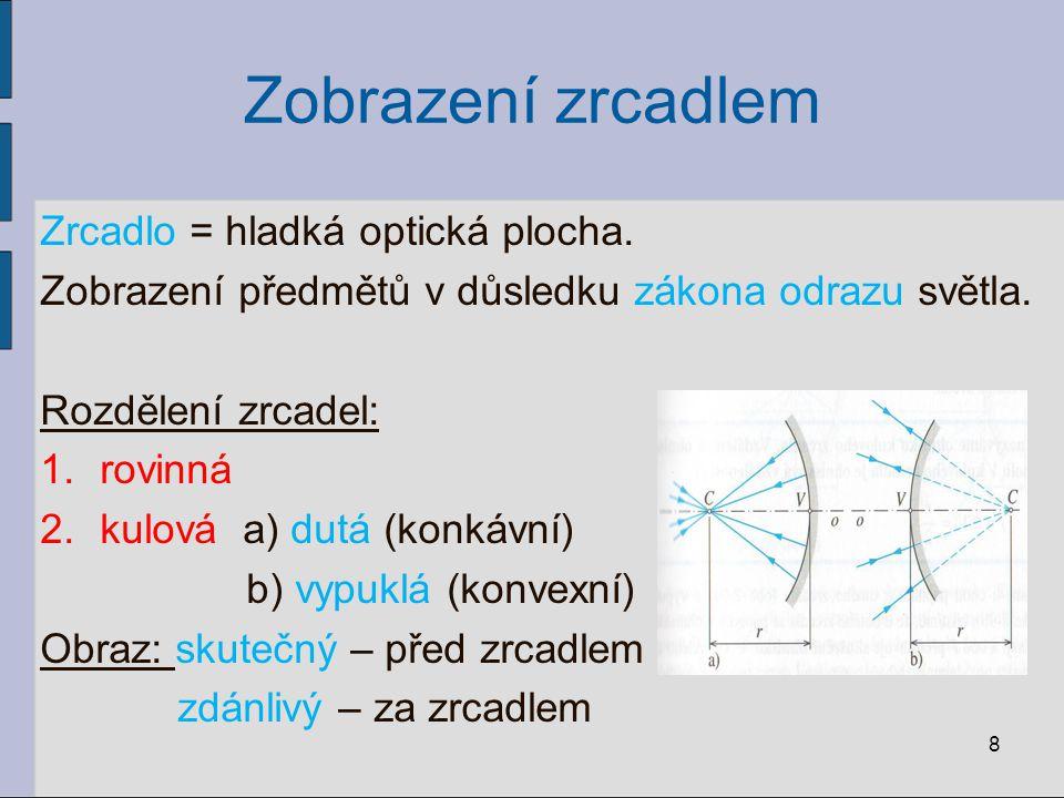 Zobrazení čočkou Optické zobrazování pomocí tenké čočky Tenká čočka: - tloušťka zanedbatelná - body V 1,V 2 splývají tvoří optický střed čočky O Prostor: a) předmětový = prostor, ze kterého světlo do čočky vstupuje b) obrazový = prostor, do kterého světlo po průchodu čočkou vystupuje 29