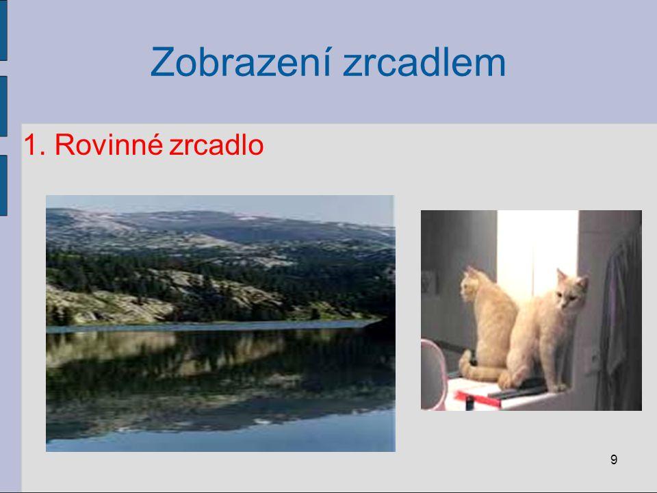 Zobrazení zrcadlem Zobrazení předmětu kulovým zrcadlem: 20