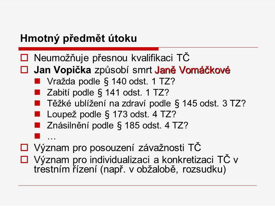 Hmotný předmět útoku  Neumožňuje přesnou kvalifikaci TČ Janě Vomáčkové  Jan Vopička způsobí smrt Janě Vomáčkové Vražda podle § 140 odst.
