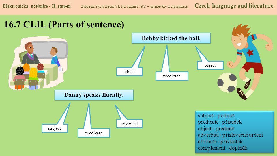 16.7 CLIL (Parts of sentence) Elektronická učebnice - II. stupeň Základní škola Děčín VI, Na Stráni 879/2 – příspěvková organizace Czech language and