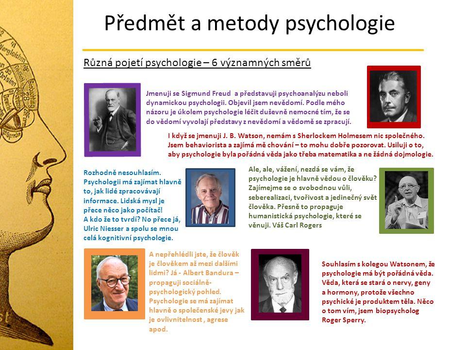 Předmět a metody psychologie Různá pojetí psychologie – 6 významných směrů Jmenuji se Sigmund Freud a představuji psychoanalýzu neboli dynamickou psyc