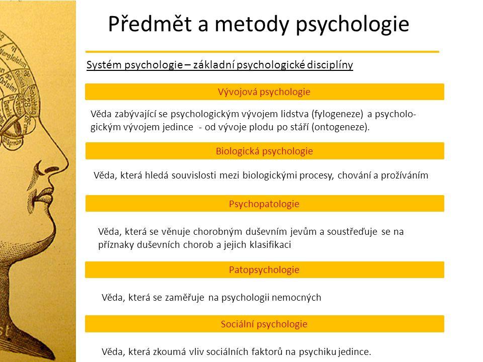 Předmět a metody psychologie Systém psychologie – základní psychologické disciplíny Vývojová psychologie Věda zabývající se psychologickým vývojem lid