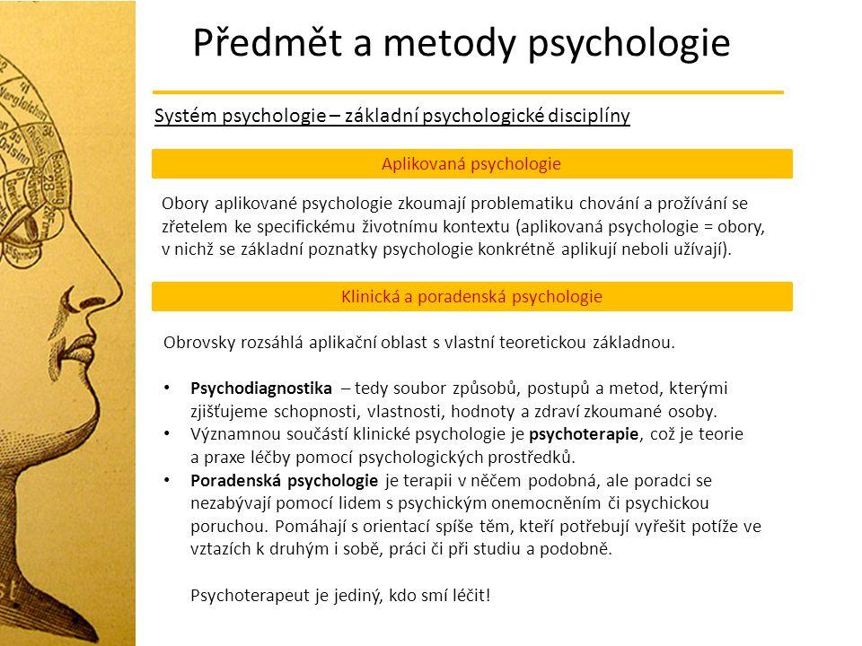 Předmět a metody psychologie Systém psychologie – základní psychologické disciplíny Aplikovaná psychologie Obory aplikované psychologie zkoumají probl
