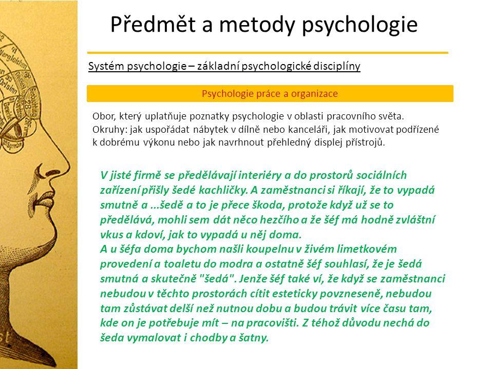 Předmět a metody psychologie Systém psychologie – základní psychologické disciplíny Psychologie práce a organizace Obor, který uplatňuje poznatky psyc