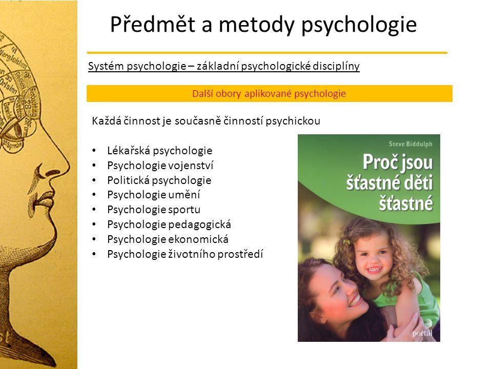 Předmět a metody psychologie Systém psychologie – základní psychologické disciplíny Další obory aplikované psychologie Každá činnost je současně činno