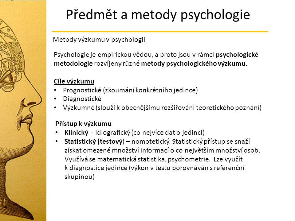 Předmět a metody psychologie Metody výzkumu v psychologii Psychologie je empirickou vědou, a proto jsou v rámci psychologické metodologie rozvíjeny rů