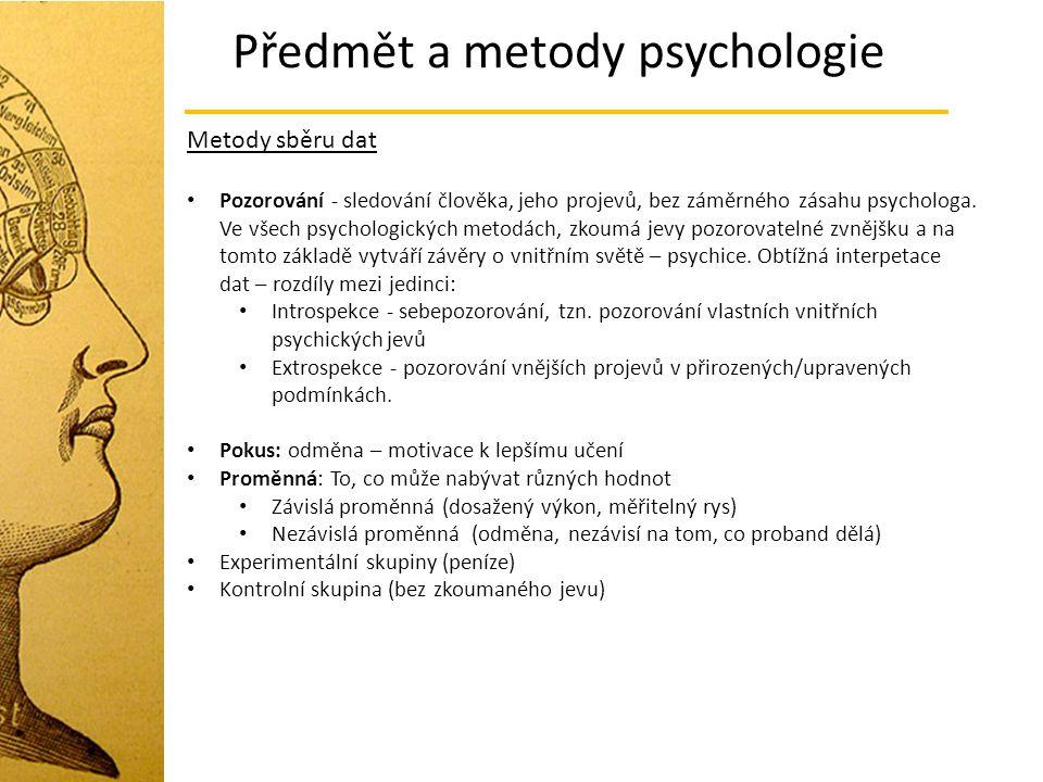 Předmět a metody psychologie Metody sběru dat Pozorování - sledování člověka, jeho projevů, bez záměrného zásahu psychologa. Ve všech psychologických