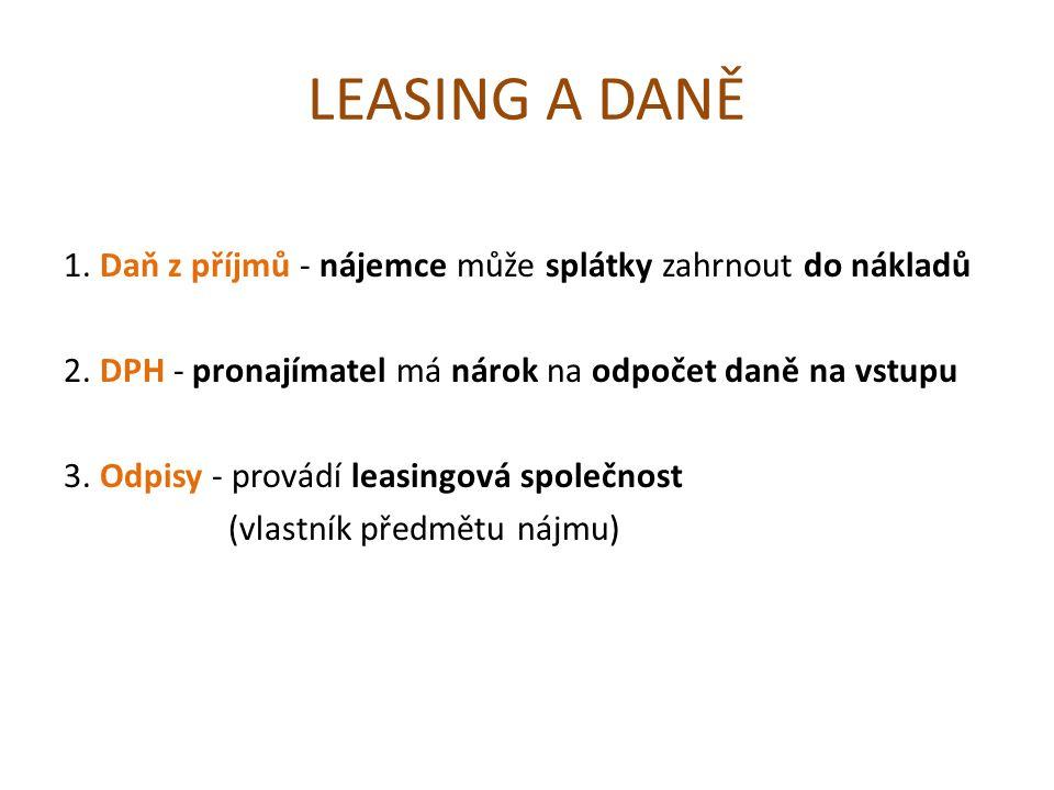 ÚKOLY - zadání 1.Vyhledejte konkrétní leasingovou společnost a předmět její činnosti.