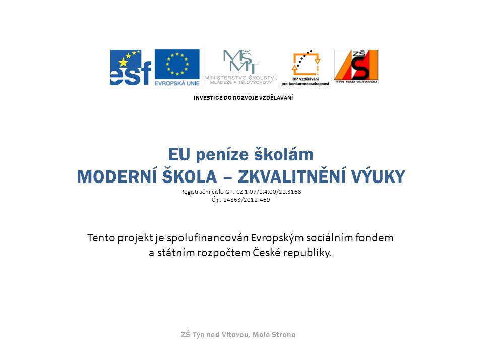 INVESTICE DO ROZVOJE VZDĚLÁVÁNÍ EU peníze školám MODERNÍ ŠKOLA – ZKVALITNĚNÍ VÝUKY Registrační číslo GP: CZ.1.07/1.4.00/21.3168 Č.j.: 14863/2011-469 Tento projekt je spolufinancován Evropským sociálním fondem a státním rozpočtem České republiky.