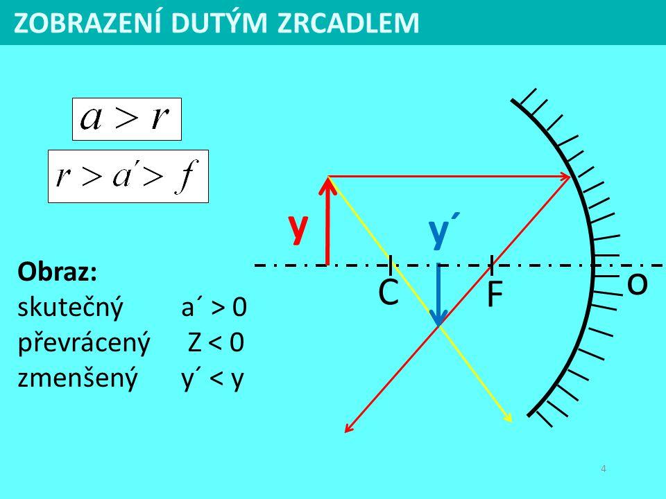 4 Obraz: skutečný a´ > 0 převrácený Z < 0 zmenšenýy´ < y ZOBRAZENÍ DUTÝM ZRCADLEM y´ C F o y