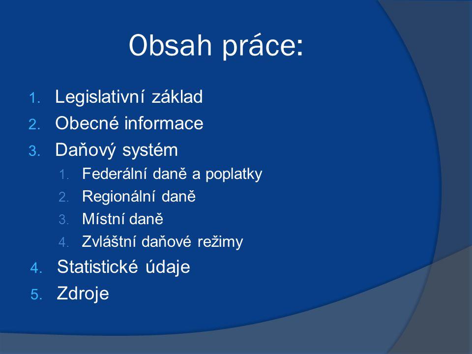 Legislativní základ  Základem ruského daňového systému je Daňový zákoník  Kromě toho, ruský daňový systém zahrnuje federální zákony o daních a poplatcích, přijatých v souladu s tímto zákoníkem.