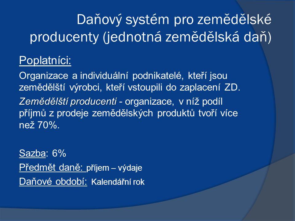 Daňový systém pro zemědělské producenty (jednotná zemědělská daň) Poplatníci: Organizace a individuální podnikatelé, kteří jsou zemědělští výrobci, kteří vstoupili do zaplacení ZD.