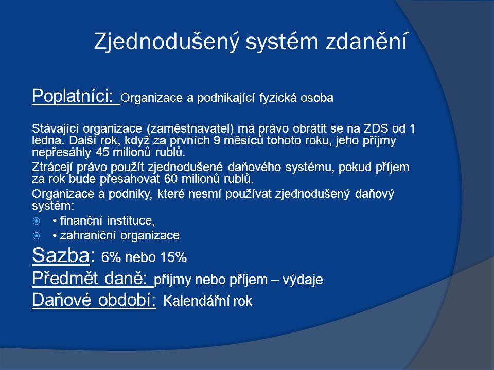 Zjednodušený systém zdanění Poplatníci: Organizace a podnikající fyzická osoba Stávající organizace (zaměstnavatel) má právo obrátit se na ZDS od 1 ledna.
