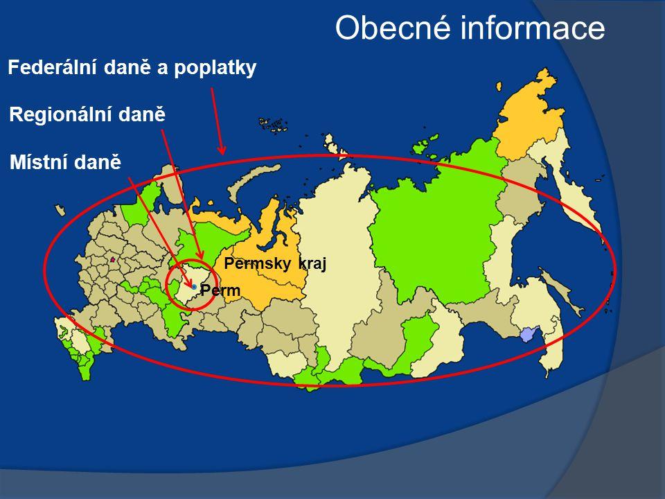 Federální daně a poplatky Regionální daně Místní daně Permsky kraj Perm Obecné informace