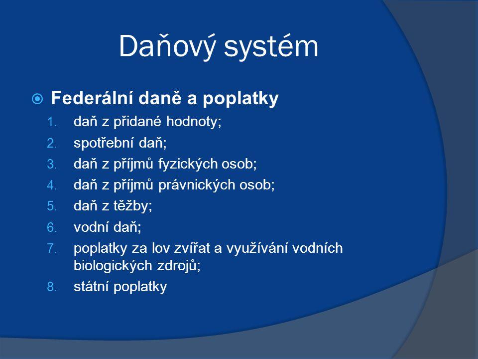 Daňový systém  Federální daně a poplatky 1.daň z přidané hodnoty; 2.