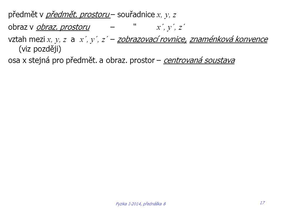 """předmět v předmět. prostoru – souřadnice x, y, z obraz v obraz. prostoru – """" x´, y´, z´ vztah mezi x, y, z a x´, y´, z´ – zobrazovací rovnice, znaménk"""